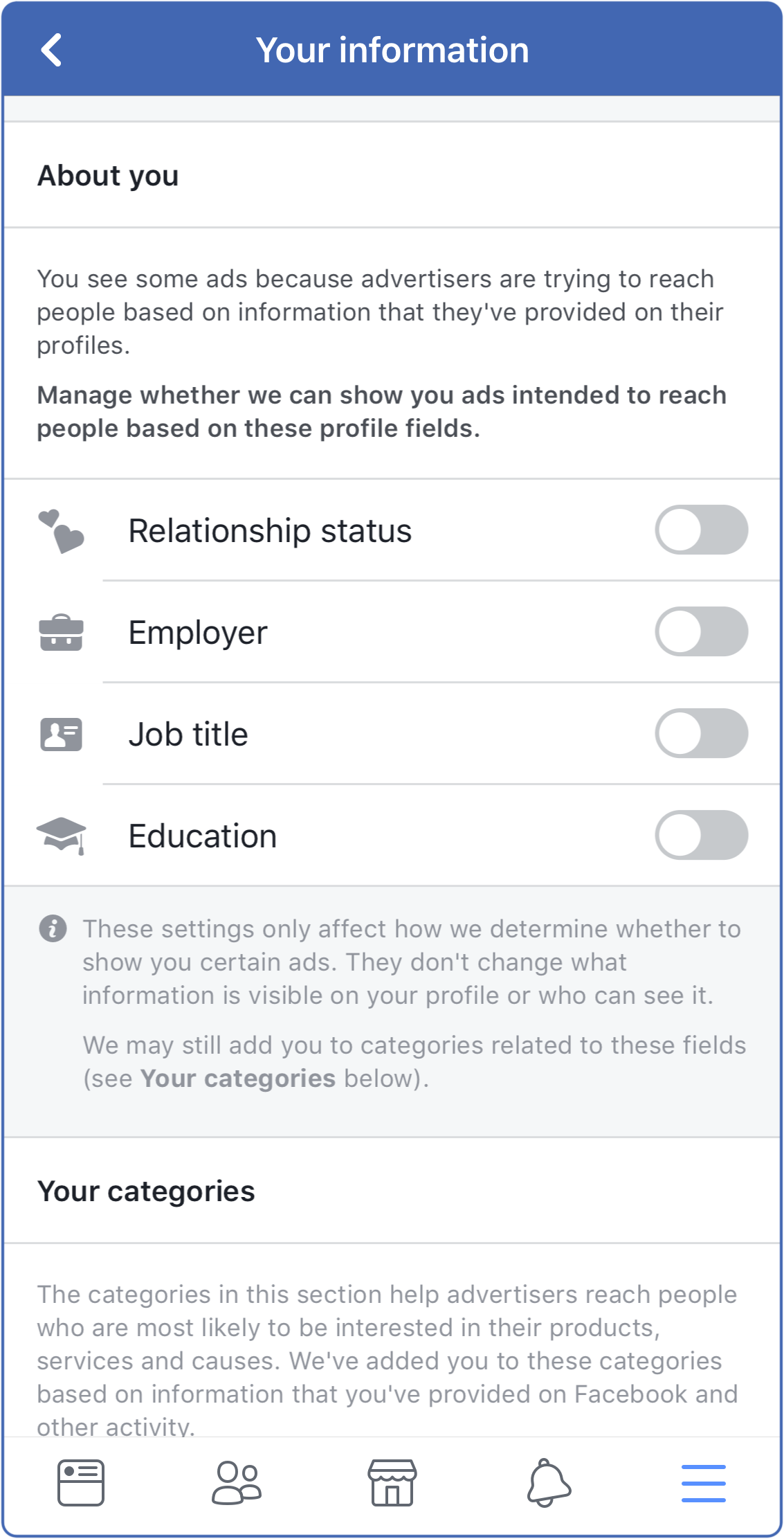 Facebook zonder advertenties - Screenshot Your Information